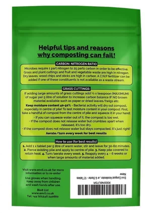 front view of Envii Compost Accelerator packet our organic compost accelerator