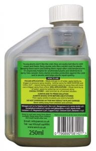 rear view of Envii Early Starter bottle our winter protection for plants