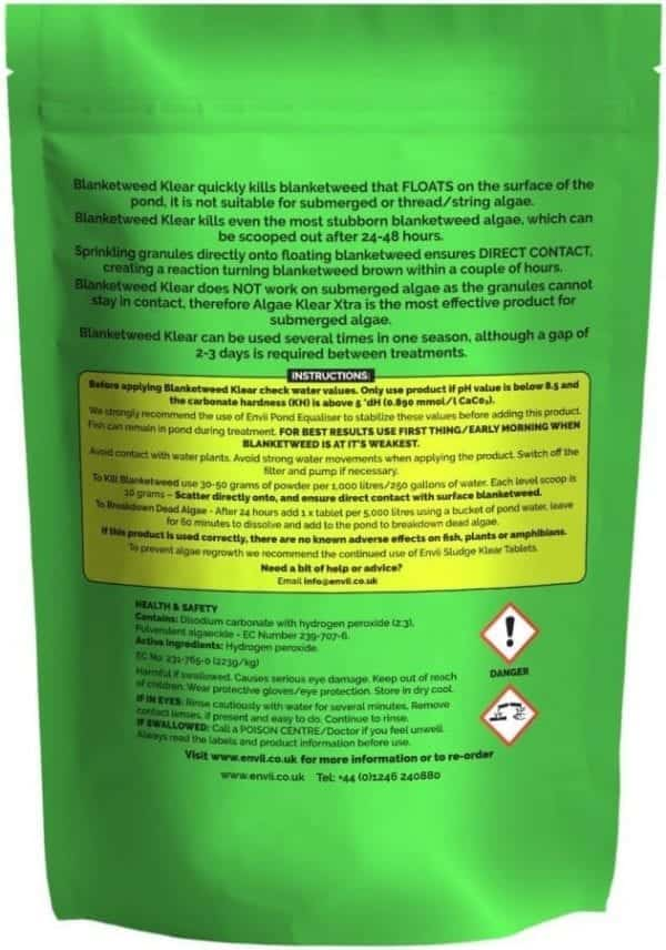 rear view of Envii Blanketweed Klear packet for our blanket weed killer