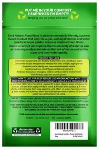 rear view of Envii Natural Pond Klear packet for our green water treatment