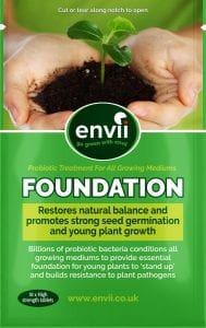 front view of a mock up of Envii Foundation our bacillus subtilis for plants
