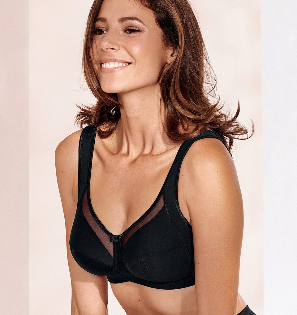 Women wearing Anita Clara soft cup bra in black