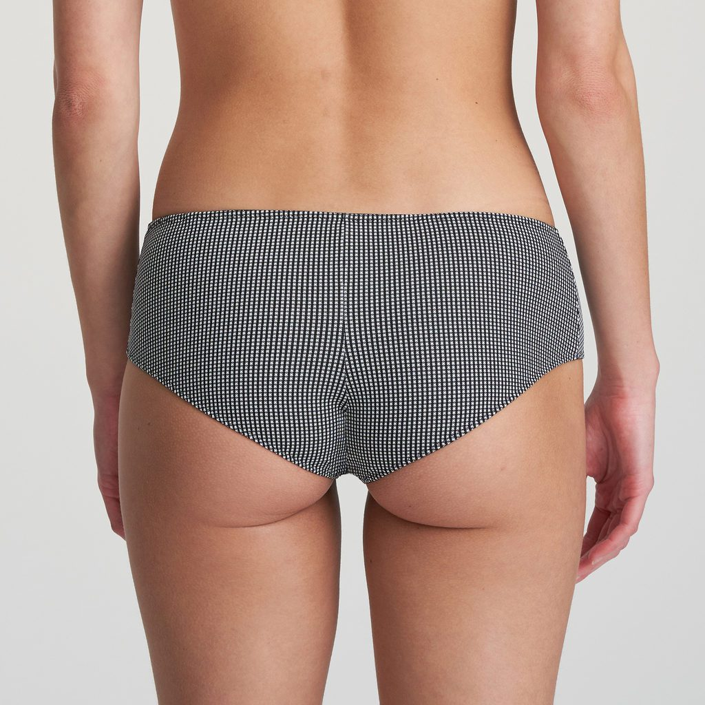 Back image of woman wearing Marie Jo L'Aventure Tom Hotpant Brief in Black and White Check