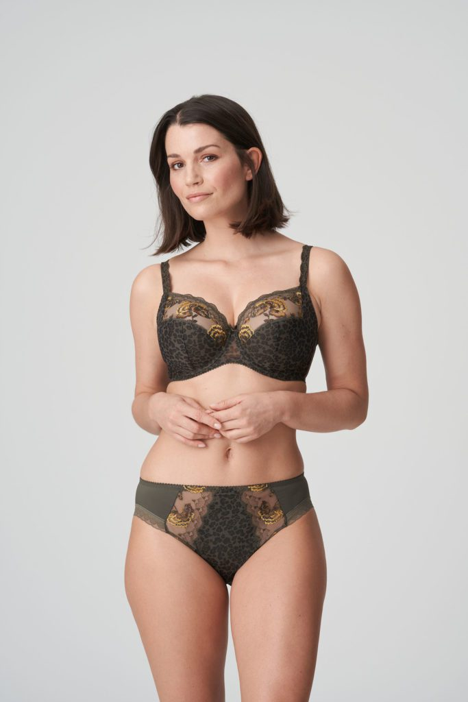 Front image of woman wearing Prima Donna Palace Garden Rio Brief In Khaki Reptile with matching bra