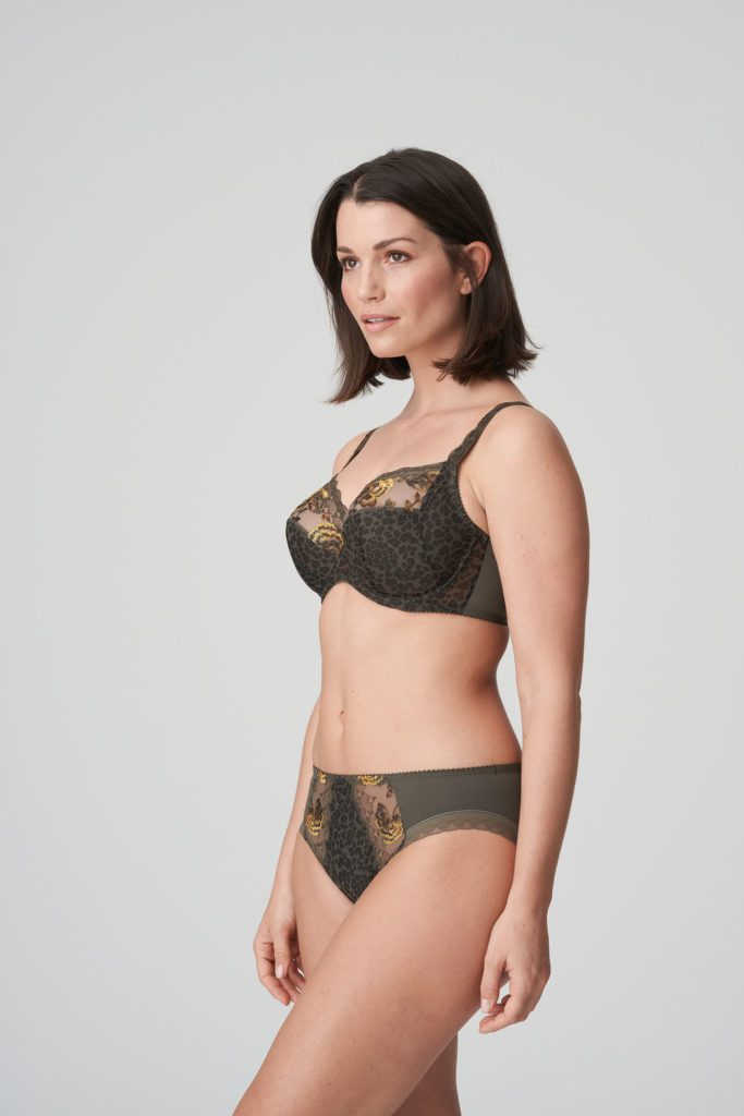 Woman wearing Prima Donna Palace Garden Rio Brief In Khaki Reptile with matching bra