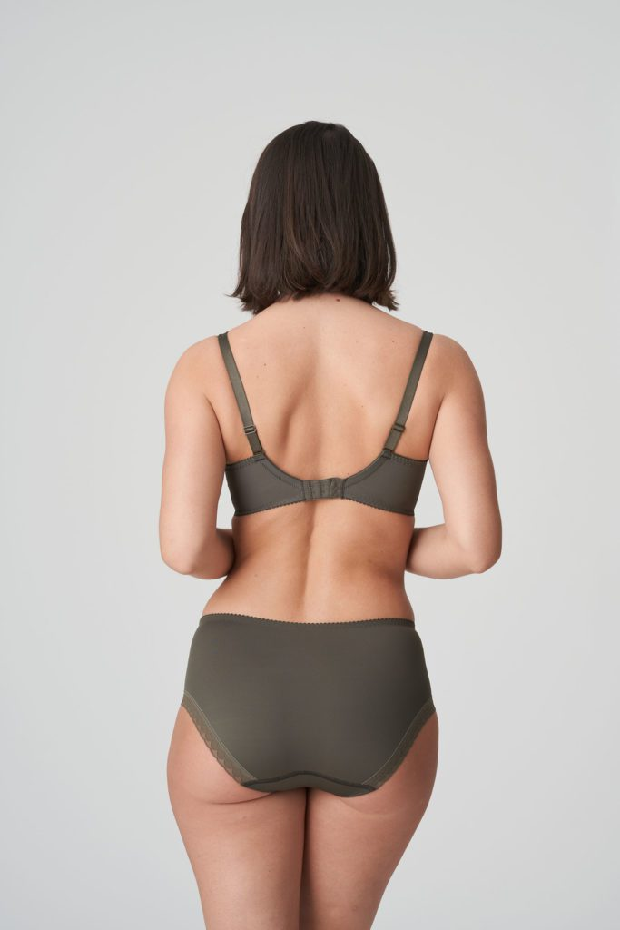 Back image of Woman wearing Prima Donna Palace Garden Full Brief In Khaki Reptile with matching bra
