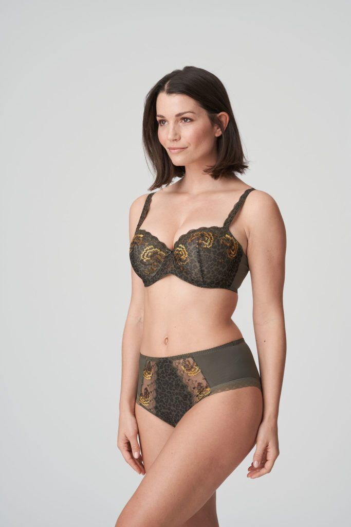 Woman wearing Prima Donna Palace Garden Full Brief In Khaki Reptile with matching bra