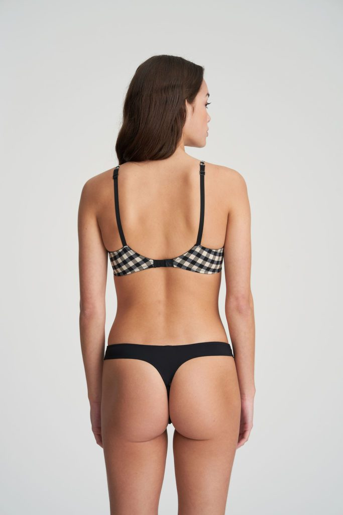 Back image of woman wearing Marie Jo Ely G-String In Black and White