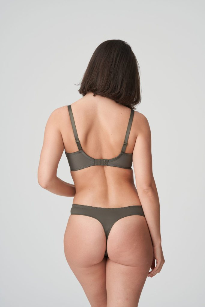 Back image of Prima Donna Palace Garden G-String In Khaki Reptile and matching bra