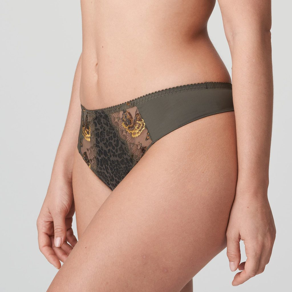 Side image of Prima Donna Palace Garden G-String In Khaki Reptile