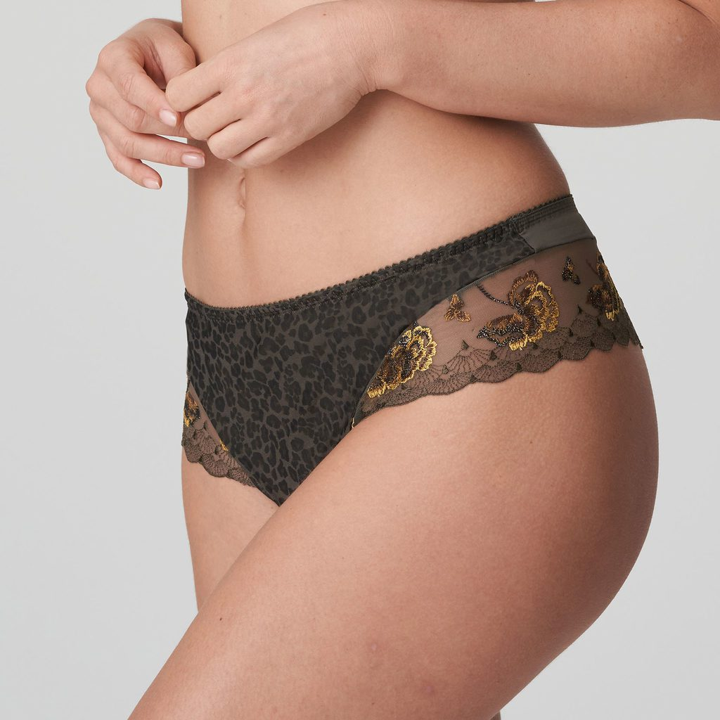 Woman wearing Prima Donna Palace Garden Luxury G-String In khaki Reptile
