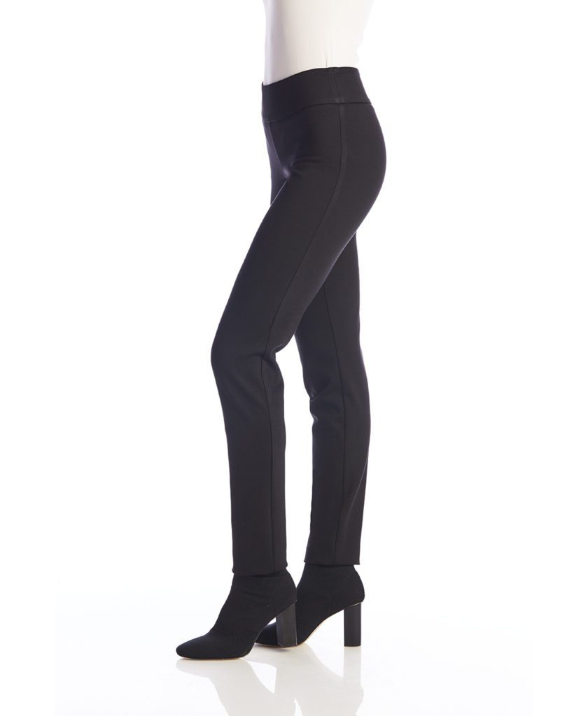 Side image of Up! Pants Ponte Slim Leg Trouser in Black
