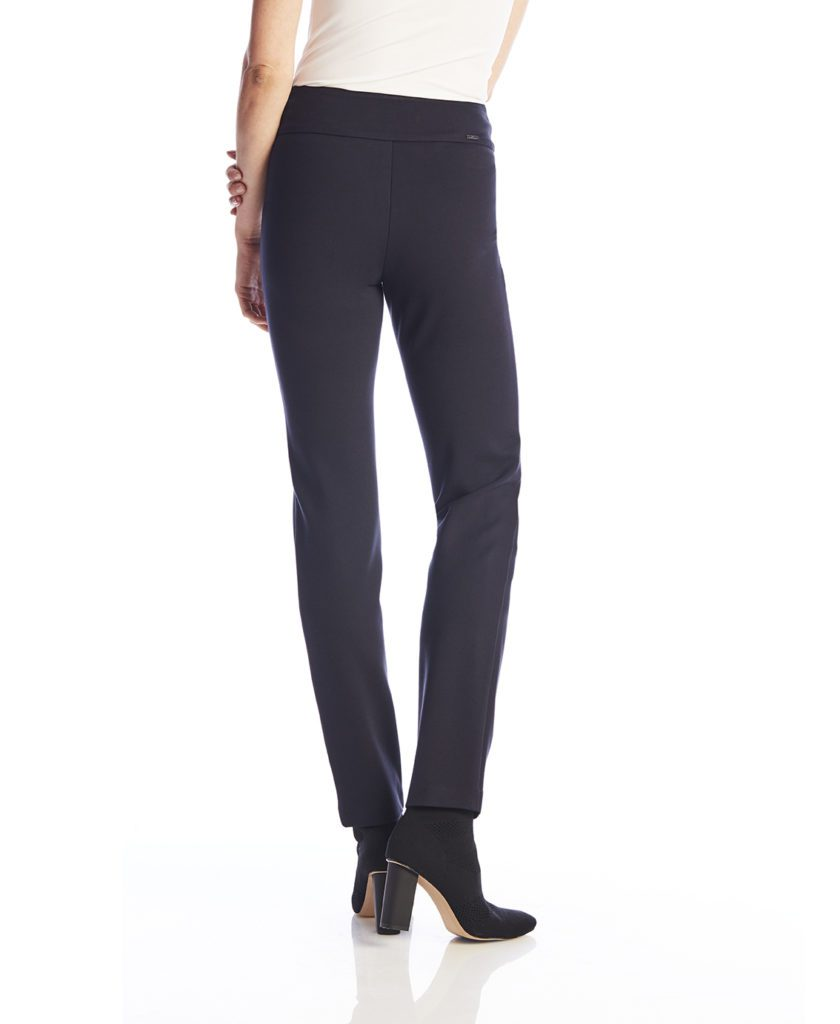 Back image of woman wearing Up! Pants Ponte Slim Leg Trouser in Navy