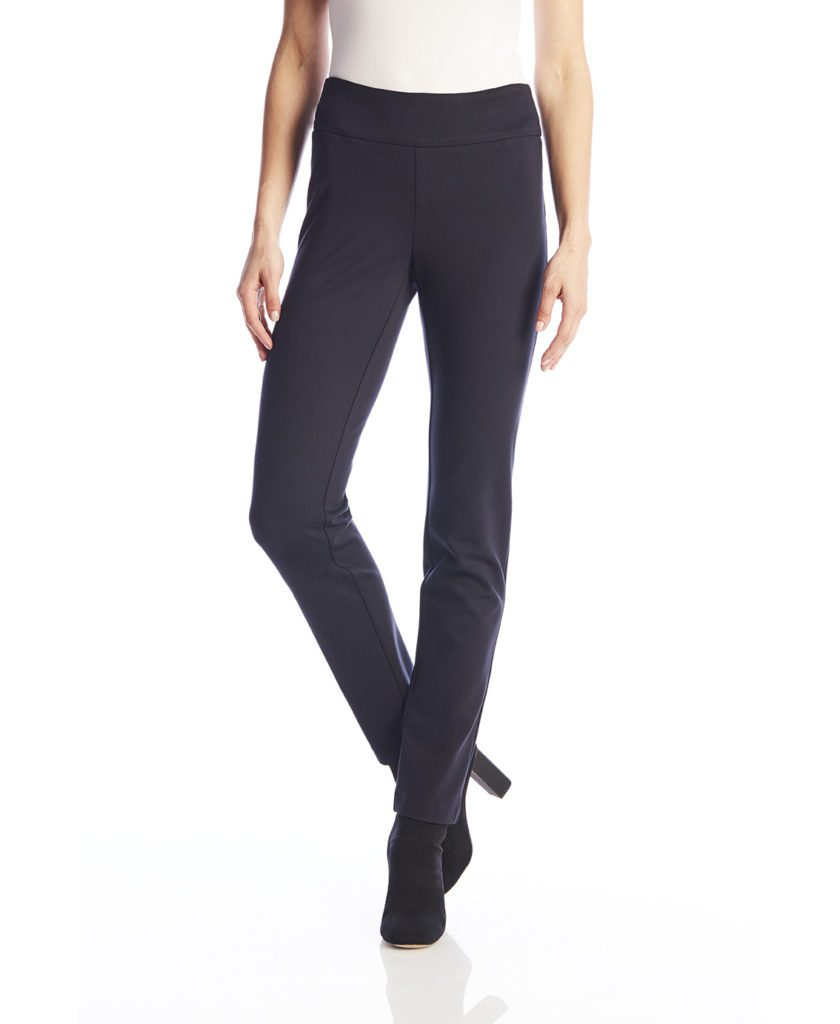 Front image of woman wearing Up! Pants Ponte Slim Leg Trouser in Navy