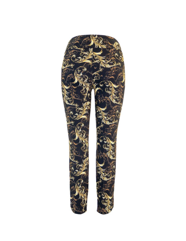 Back image of Up! Pants Valentino Slim Leg Trouser in Black and Gold